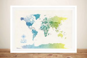 Political World Map in Watercolour Tones 1