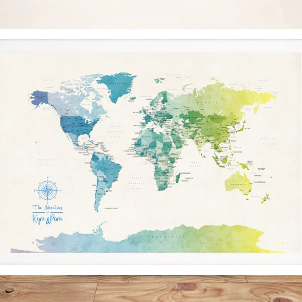Watercolour Push Pin Map of the World Framed Wall Art