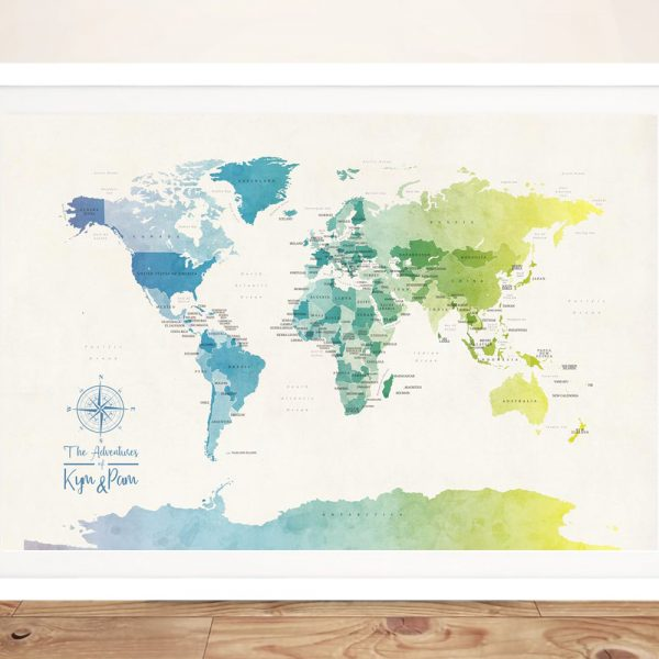 Buy Watercolour Political World Map Framed Art