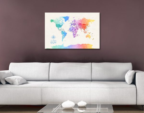 Buy Colourful World Map Art thats Ready to HangBuy Colourful World Map Art thats Ready to Hang