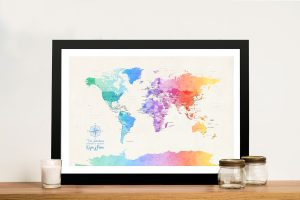 Custom World Map in Watercolour Tones 3