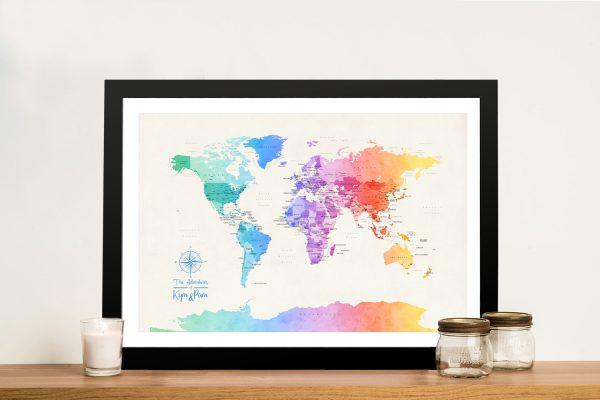 Buy Multicoloured Minimalist World Map Art