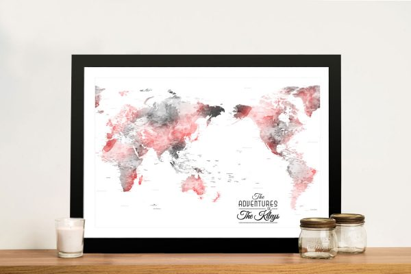 Buy Ready to Hang Watercolour Push Pin Maps