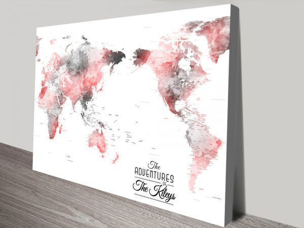 Buy a Grey & Red Pacific Centric Push Pin Map