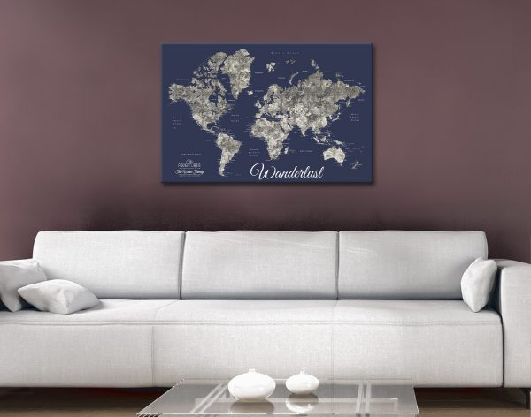Buy the Perfect Gift with our Custom Navy Blue Map Art