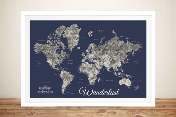 Buy Ready to Hang Navy Blue Custom Map Art