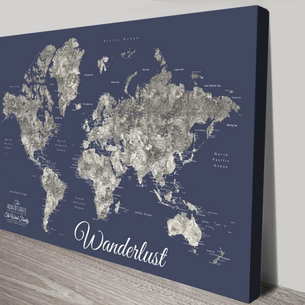 Buy a Detailed Navy Blue Push Pin Custom Map
