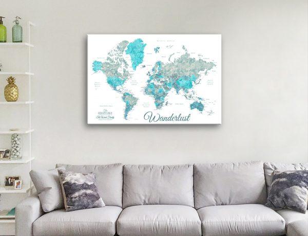 Buy Unique Custom Ocean Tones Map Art AU