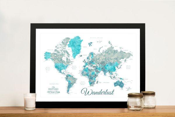 Buy an Ocean Tones Wanderlust World Map
