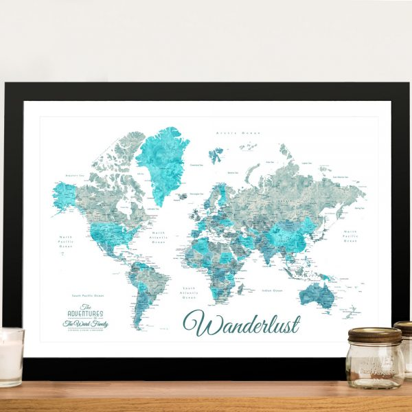 Buy an Ocean Tones Wanderlust World Map