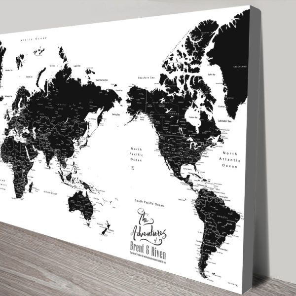 Buy Stretched Canvas Pacific Centric Map Art