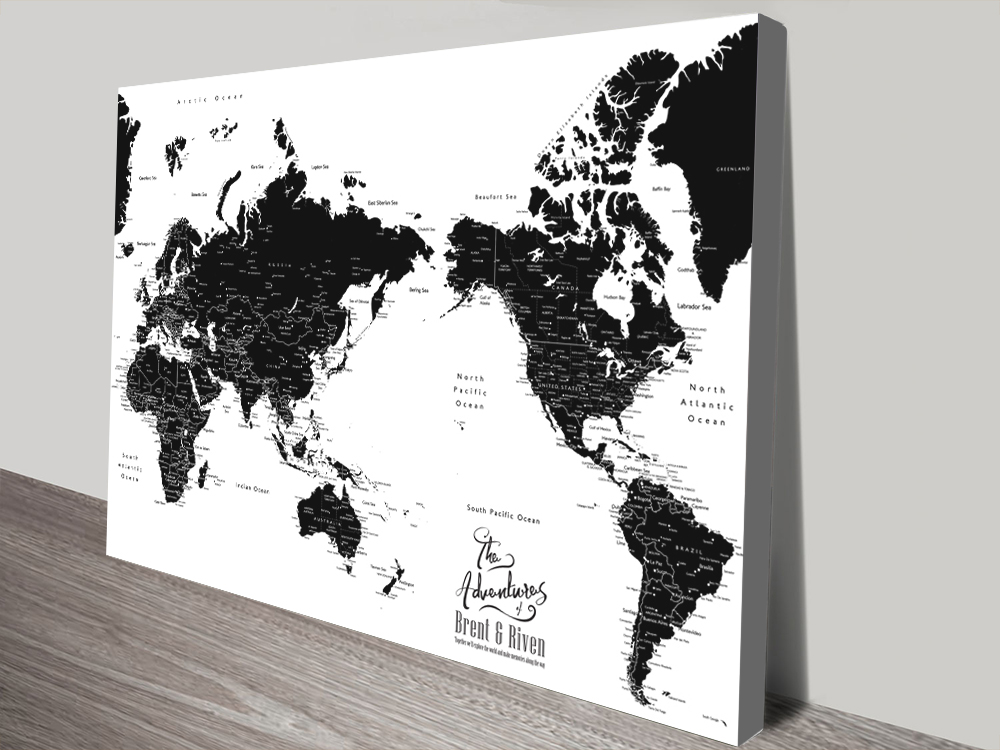 Australia Centric Black & White Pushpin Map