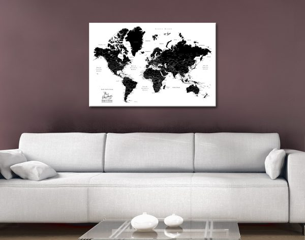 Buy a Custom Black & White World Map Unique Gifts AU
