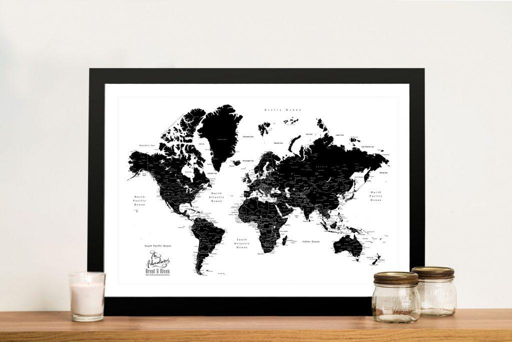 Black & White World Map