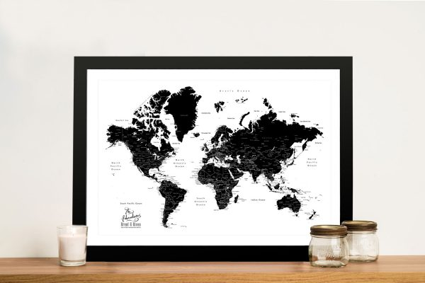 Buy a Black & White Pushpin Framed Canvas Map