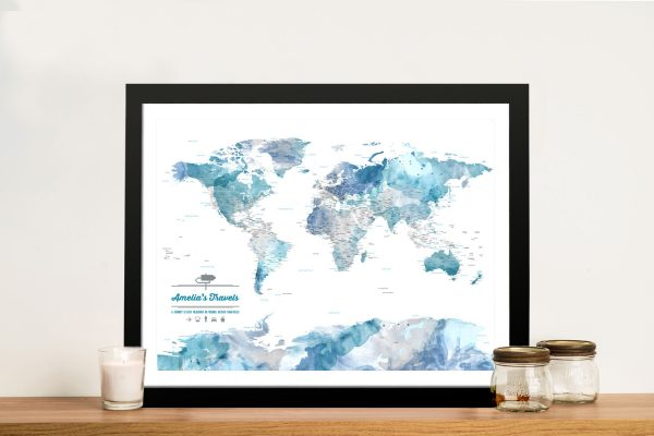 Custom Blue Watercolour World Map with Framed Wall Art