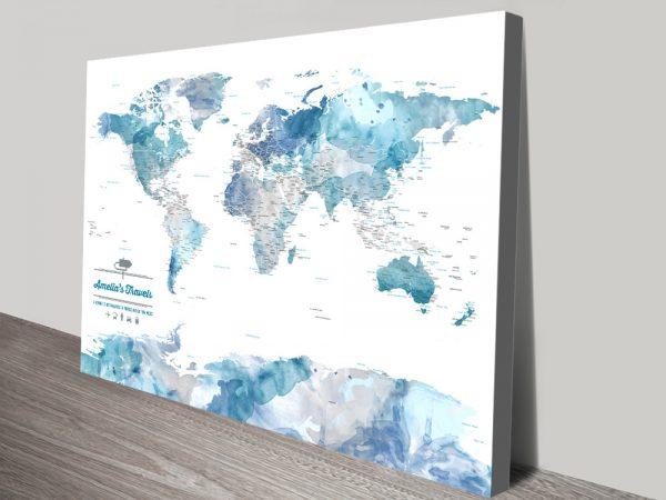 Custom Blue Watercolour Push Pin World Map