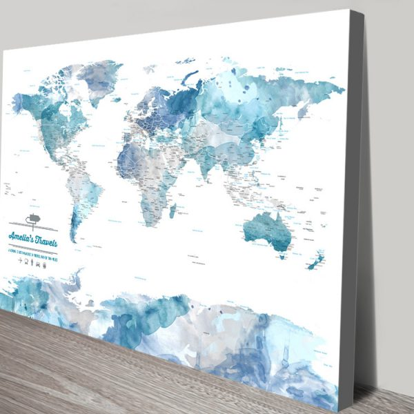 Custom Blue Watercolour Push Pin World Map
