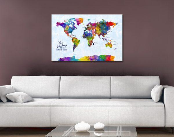 Personalised Watercolour Push Pin Map Art