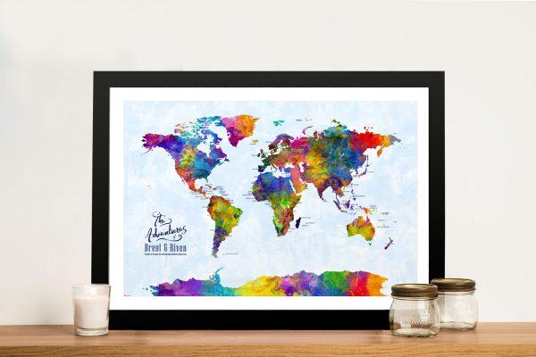 CustomWatercolour Pushpin Map Art