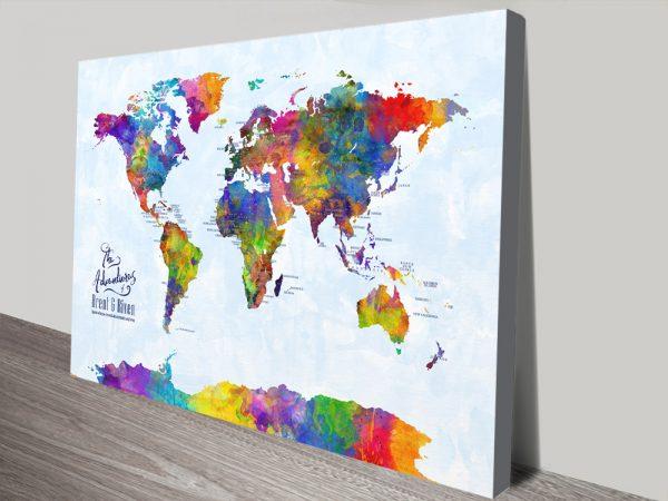 CustomMulticoloured Watercolour Pushpin World Map Art