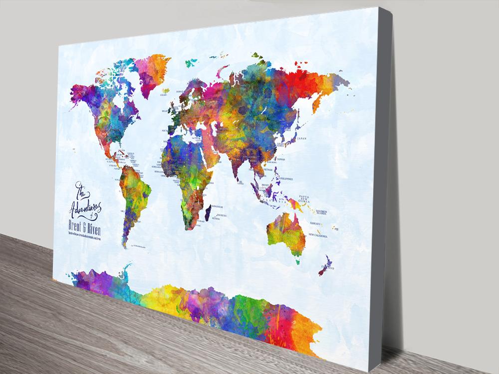 Multicoloured Watercolour Pushpin World Map