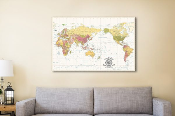 Vintage White Pacific Centric Push Pin Map Art