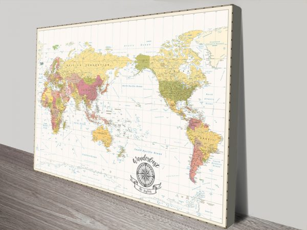 Custom White & Gold Australia Centric Map Wall Art