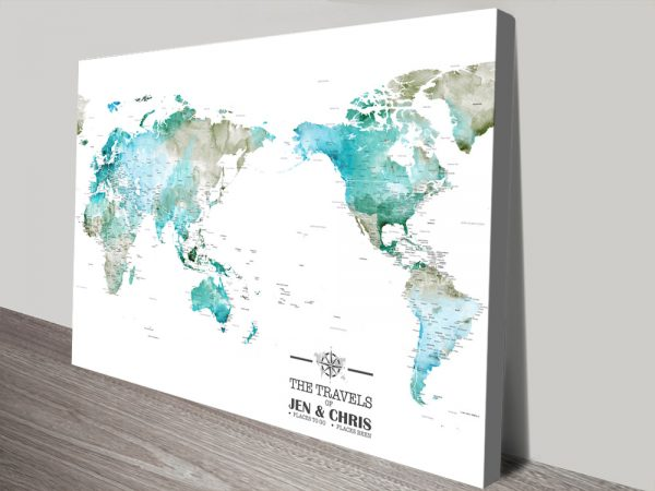 Custom Watercolour Pacific Centred Push Pin Map