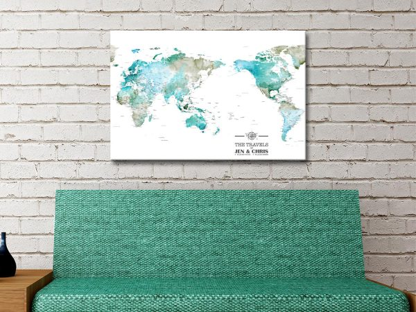 Personalized Watercolour Australia Centric Push Pin Map