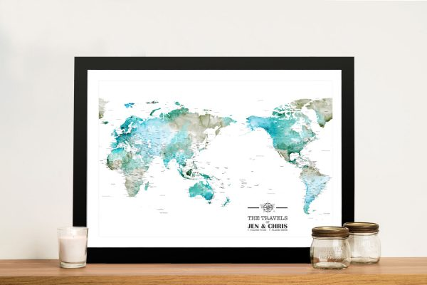 Watercolour Australia Centred Push Pin World Map