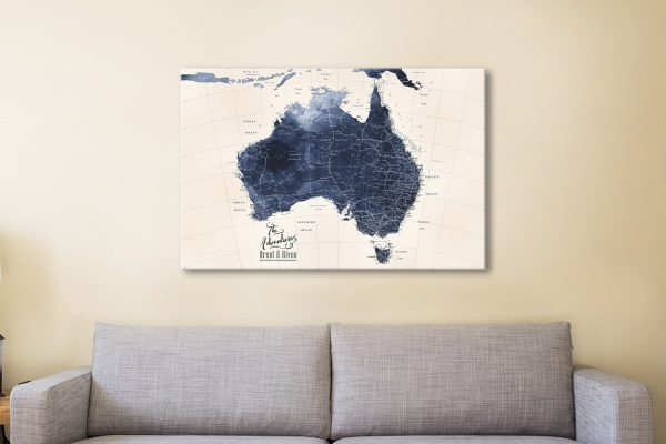 Blue Map of Australia Custom Wall Art Online