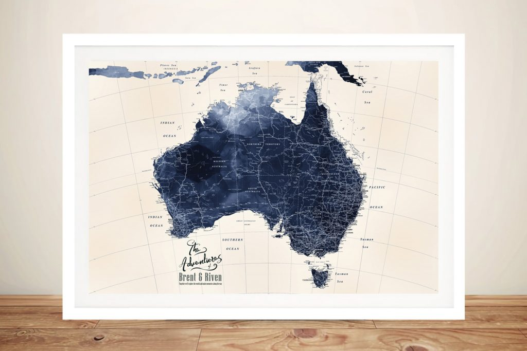 Blue Tones Detailed Australia Map