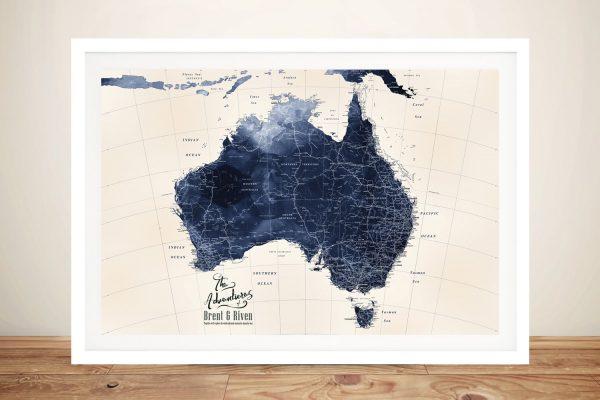 Framed Detailed Map of Australia in Blue Tones