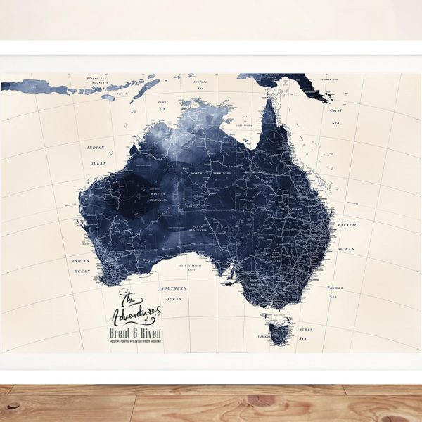 Framed Detailed Map of Australia in Blue Tones