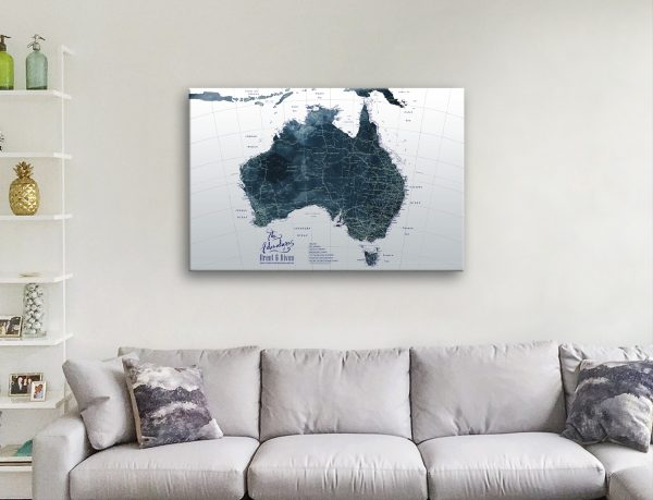 Australia Detailed Custom Map Art Great Gifts for Guys
