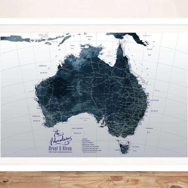 Framed Custom Dark Tones Australia Detailed Map
