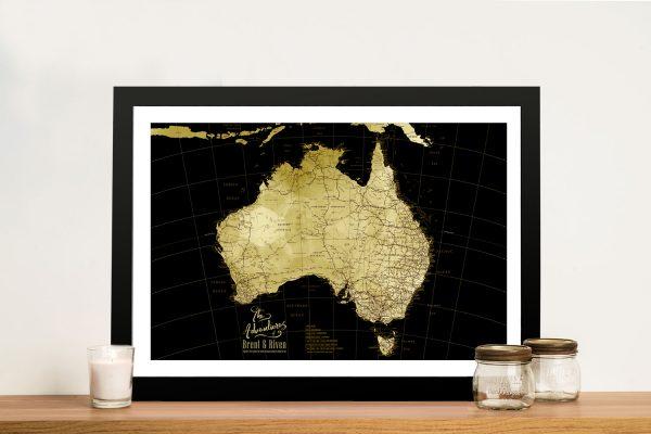 Black & Gold Affordable Custom Map Gift Ideas AU