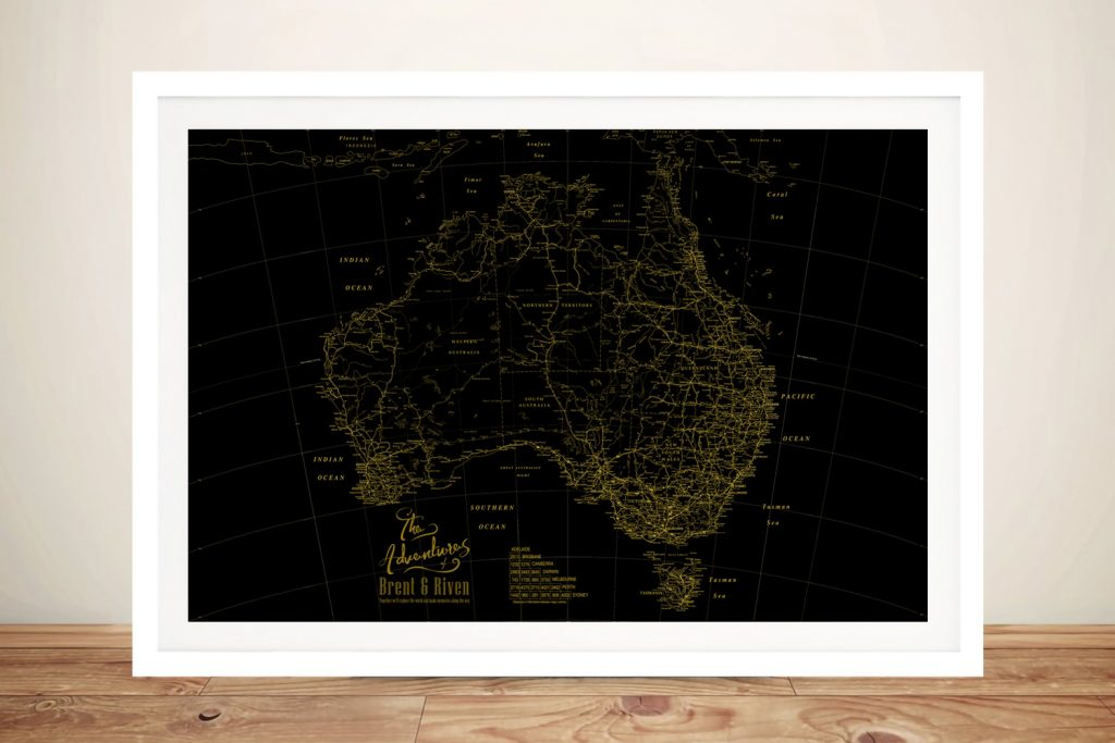 Gold & Black Detailed Australia Map
