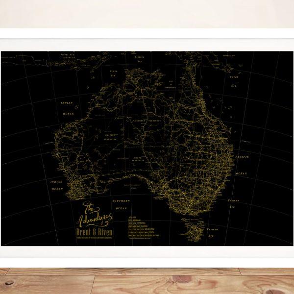 Gold & Black Framed Custom Detailed Map