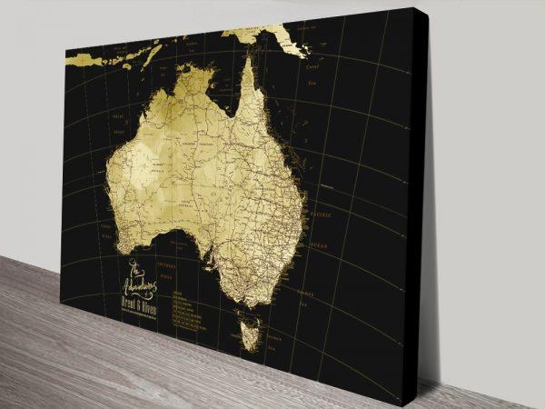 Australia Detailed Black & Gold Personalised Map