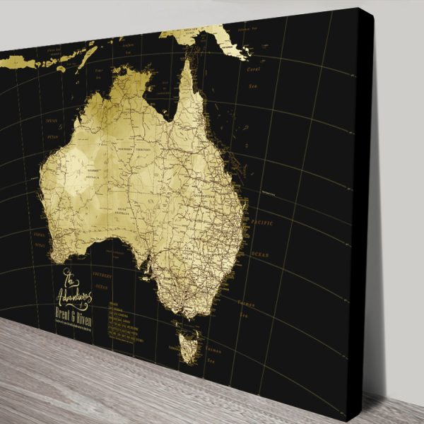 Australia Detailed Black & Gold Personalised Map