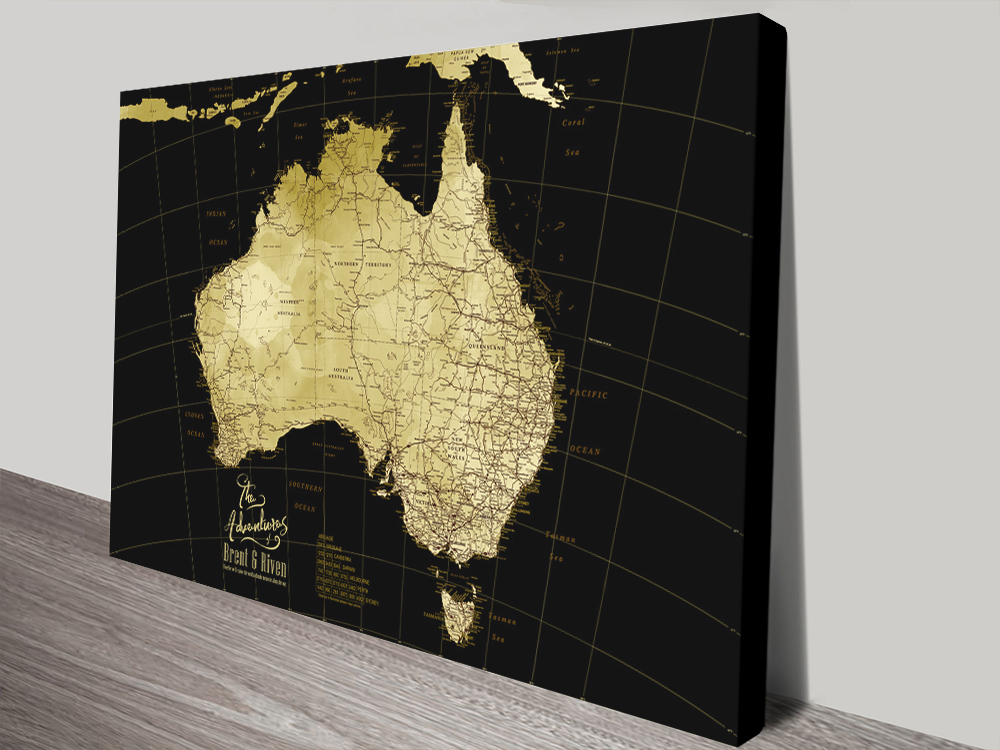 Black & Gold Detailed Australia Map