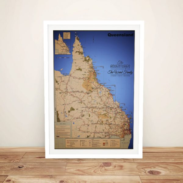 Framed Detailed Queensland Push Pin Map