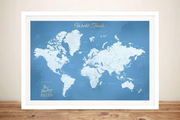 Framed Powder Blue Map Gift Ideas Online