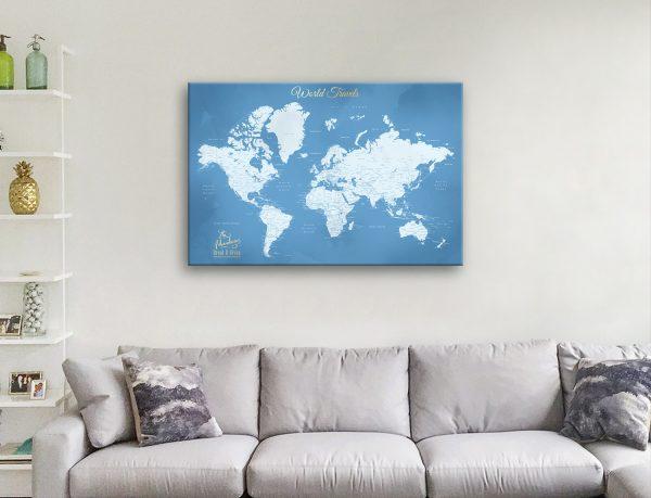 World Map Custom Art Unique Home Decor AU
